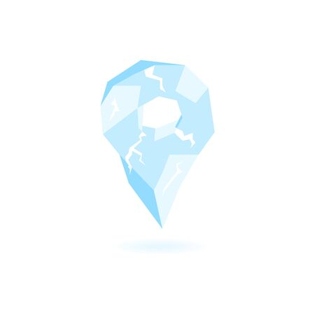 Icy location pin. GPS marker vector icon.