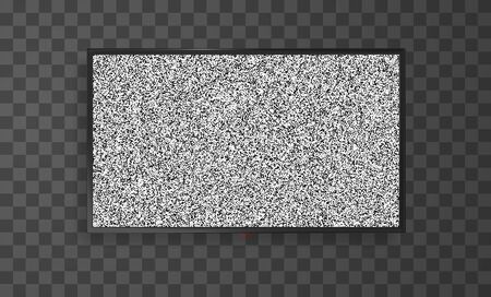No signal widescreen black flat tv screen. Realistic vector mockup of lcd panel with static noise.