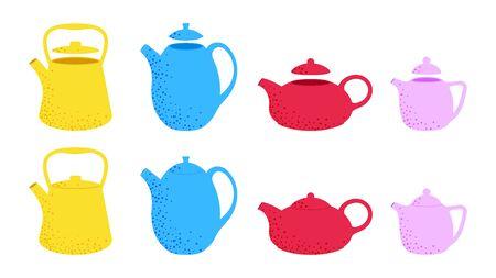 Vintage teapots set. Vector flat kettles illustration. 写真素材 - 130567682