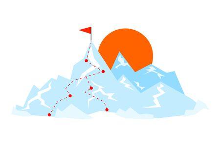 Montaña plana con ruta a la cima. Ilustración de vector de forma de viaje. Concepto de meta. Ilustración de vector