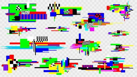 Glitch effect elements set. Pixel noise error design elements. Damaged screen. Vector template.