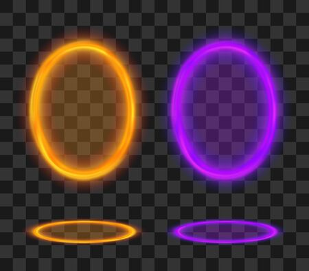 Magic portal. Futuristic orange and violet teleport. Vector fantasy glowed frame set.