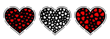 Vintage heart set. Vector illustration design for valentine day or wedding.