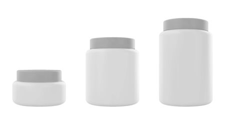White plastic jar with cap and label. Realistic vector protein mockup. Design template.