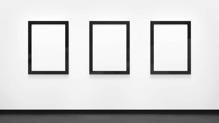 Three blank posters with black frames on the white wall. Picture gallery mock up.