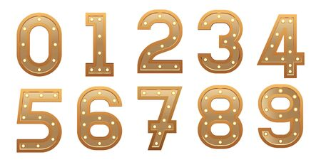 Retro light sign numbers set. Golden numerals with bulbs. Vintage vector illustration. Illusztráció