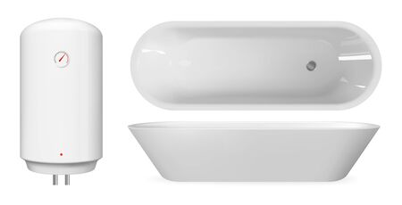 White realistic bathtub and boiler. Vector bathroom furniture set.