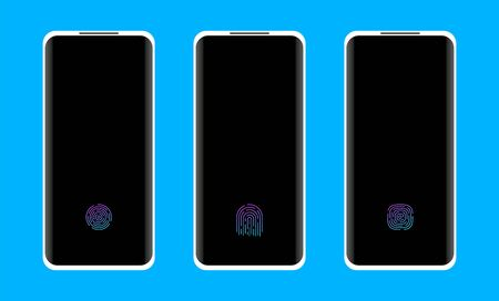 Smartphone with fingerprint scanner under the screen.  イラスト・ベクター素材