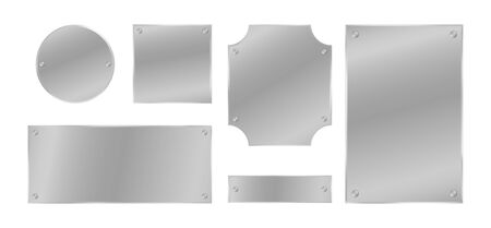 Metal plates with rivets set. Silver colored badges. Vector design elements.
