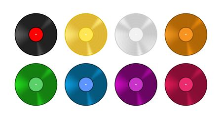 Colored vinyl record set. Old vintage music vector illustration.