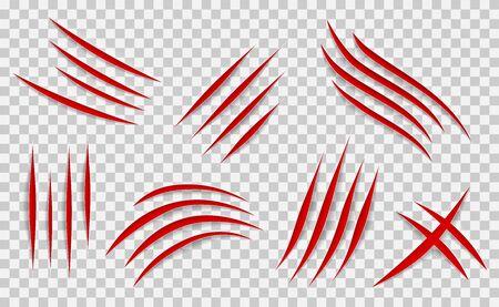 Set di segni di graffi di artigli. Traccia di raschiatura vettoriale.