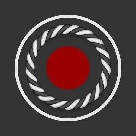 Twisted black and white ropes. Round frame. Vector Japan design.