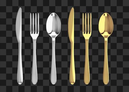Golden and silver fork, knife and spoon. Realistic vector cutlery illustration.  イラスト・ベクター素材