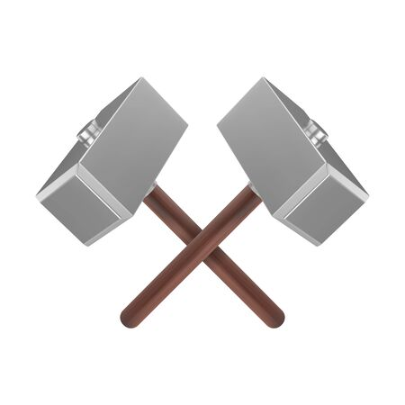 Realistic crossed metal hammers with wooden handle. Weapon of Thor icon. 3D vector illustration Illustration