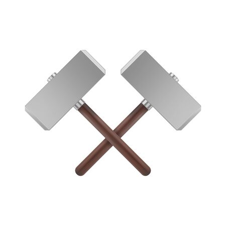 Realistic crossed metal hammers with wooden handle. Weapon of Thor icon. Vector illustration Illustration