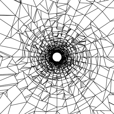 Abstract distorted tunnel mesh background. Bullet hole concept. Vector design. 向量圖像