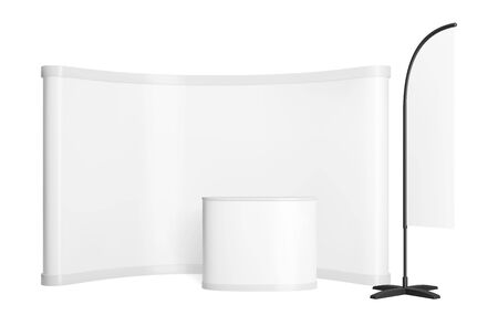Promotion counter mockup. Realistic vector pop up stand. Trade exhibition point of sale with wall, table and flag.