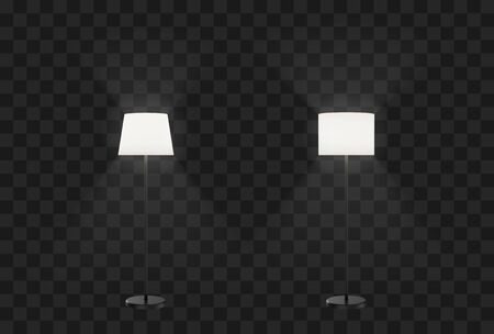 Floor and ceiling lamps furniture set. Vector flat illustration. Modern torchiere with white lampshades Illustration