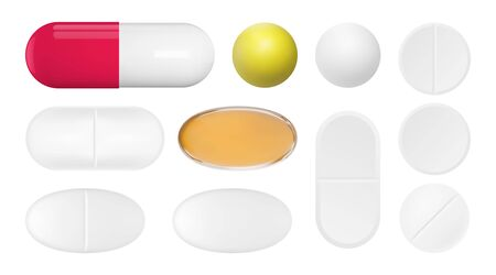 Realistic pills set. Isolated pharmaceutical drugs. Vector medications mockup.