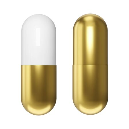Realistic golden pills. Isolated pharmaceutical drugs. Vector medications design. Ilustrace