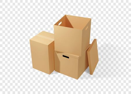 Brown cardboard boxes stack. Realistic vector illustration for moving service or warehouse design