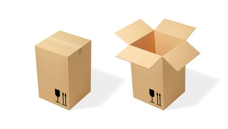 Brown tall cardboard opened and closed box. Realistic vector illustration for moving service or warehouse design
