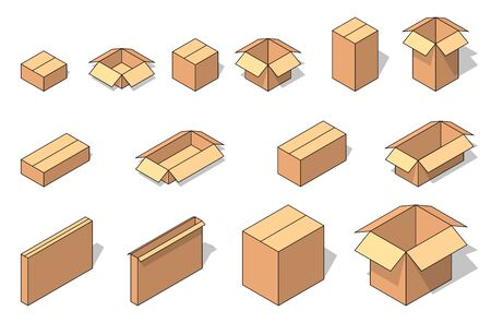 Isometric brown cardboard opened and closed box set. Vector illustration for moving service or warehouse design Ilustrace