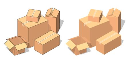 Isometric brown cardboard boxes stack. Vector illustration for moving service or warehouse design