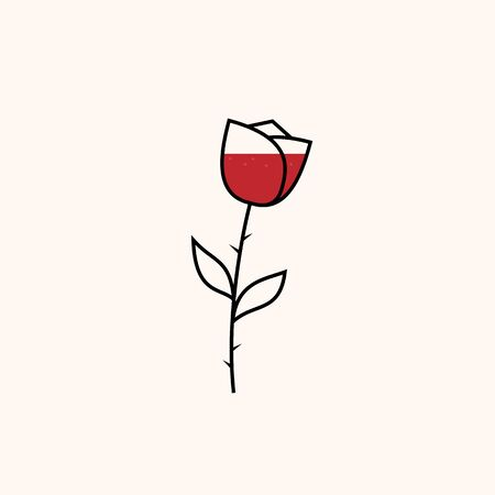 Minimal rose icon. Outline vector concept of a flower shaped wine glass. Ilustrace