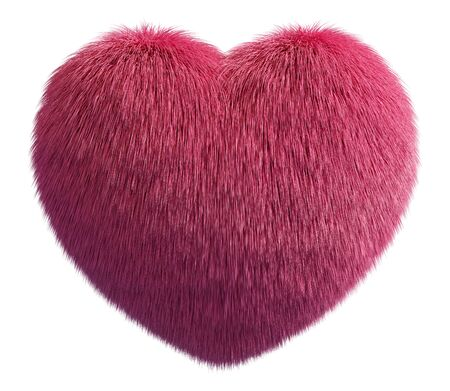 Pink fur fluffy heart isolated on white background. Valentines day concept. 3D rendering image Reklamní fotografie