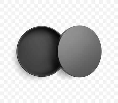 Realistic half open round black box and lid with shadow. Top view vector mockup. Ilustrace