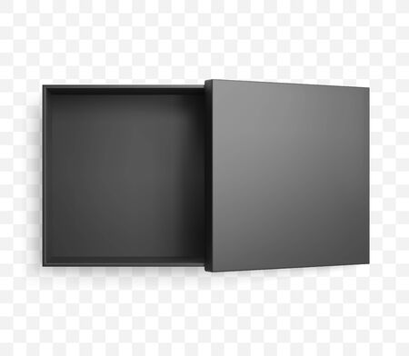 Realistic half open square black box and lid with shadow. Top view vector mockup. Ilustrace