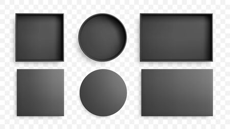 Realistic open black box and lid with shadow. Top view vector mockup.