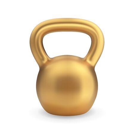 Realistic golden kettlebell. Vector illustration for sport design Ilustrace