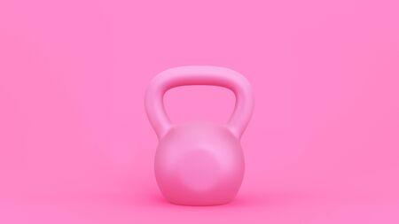 Pink kettlebell background. Simple modern illustration for sport design. 3D rendering image.