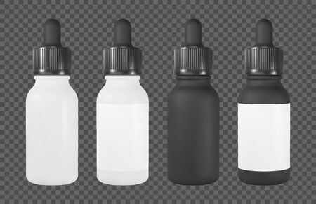 Vape or cosmetic bottle with pipette. White and black vial with label. Realistic vector mockup