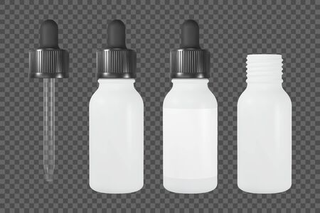 Vape or cosmetic bottle with pipette. White open and closed vial with label. Realistic vector mockup