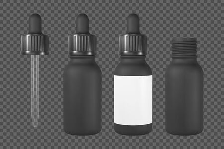 Vape or cosmetic bottle with pipette. Black open and closed vial with label. Realistic vector mockup.