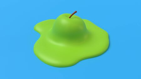 Abstract melted green apple. Surrealist concept for healthy eating design. 3D rendering image.