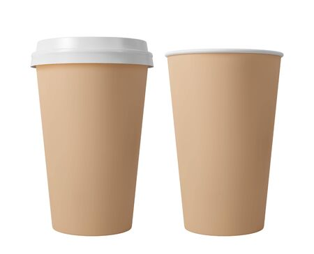 Brown paper coffee cup with lid. Open and closed paper cup. Realistic vector mockup.
