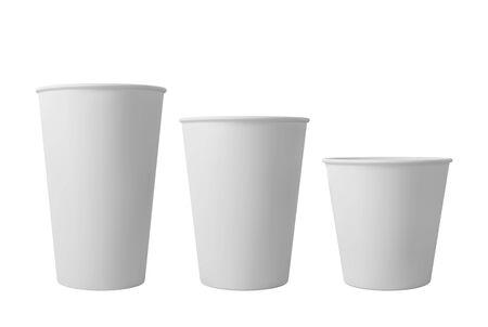 White open paper coffee cups. Realistic vector mockup. Ilustrace