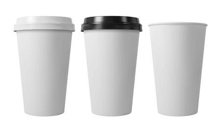 Paper coffee cups with black and white lids. Open and closed paper cup. Realistic vector mockup.