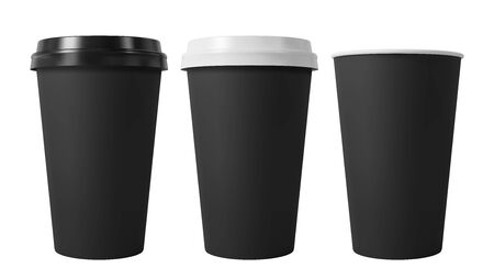 Black paper coffee cups with black and white lids. Open and closed paper cup. Realistic vector mockup.