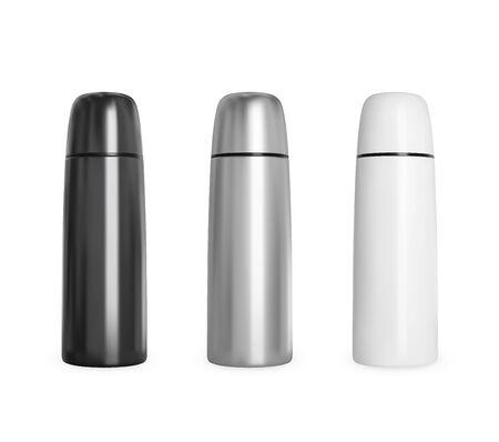 Black and white metal bottle on white