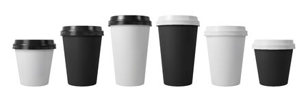 Paper coffee cups with black and white lids. Closed large and small paper cups. Realistic vector mockup