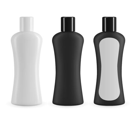 Black and white plastic cosmetic bottle whit lable. Realistic vector mockup for shampoo or shower gel design