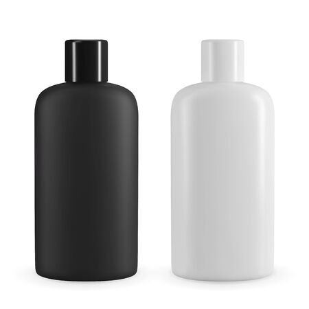 Black and white plastic cosmetic bottle. Realistic vector mockup for shampoo or shower gel design