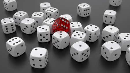 Many white dices and one transparent red are lying on the black table. Casino and gambling background concept. 3D rendering image. Reklamní fotografie