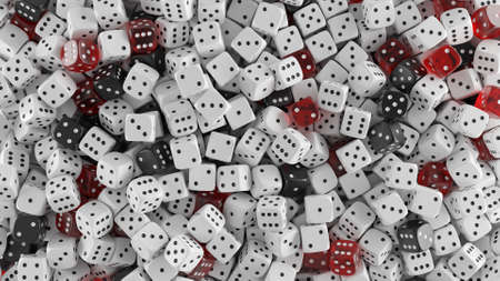 Heap of white, black and transparent red dices. Casino and gambling background concept. 3D rendering image.