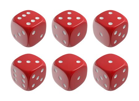Realistic red dices. Casino and gambling design elements. Vector illustration. Ilustrace